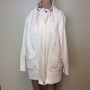 Coldwater Creek White Sweater Jacket Zip Up